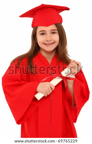 Attractive 7 year old girl in oversized large red graduation cap and gown with diploma over white. - stock photo