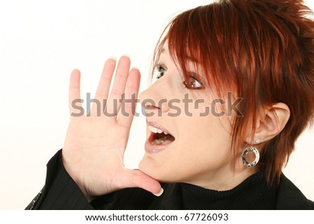 Attractive 30 year old woman yelling profile over white. - stock photo
