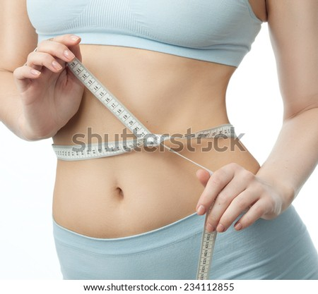 attractive yong caucasian woman isolated  on white background studio shot figure body - stock photo