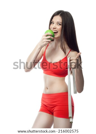 attractive yong caucasian woman isolated  on white background studio shot figure body apple diet healthy eating thumbs up