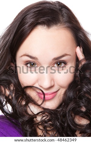 attractive young adult smile to the camera - stock photo