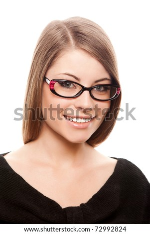 attractive young adult wearing glasses isolated on white - stock photo