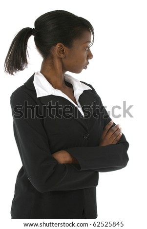 Attractive young afican american woman in business suit over white background looking behind her. - stock photo