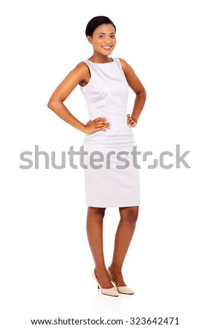 attractive young african woman standing on white background