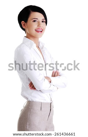 Attractive young and beautiful businesswoman - stock photo