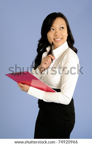 https://thumb7.shutterstock.com/display_pic_with_logo/77601/77601,1302398872,11/stock-photo-attractive-young-asian-business-woman-in-white-blouse-and-black-skirt-holding-a-pink-clipboard-with-74920966.jpg