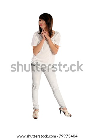 attractive young Asian girl against white - stock photo
