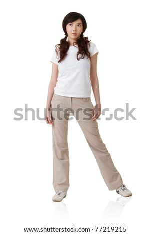 Attractive young Asian woman, full length portrait isolated on white background. - stock photo