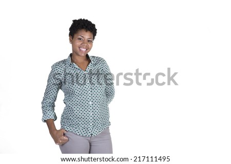 Attractive young black woman smiling isolated on white - stock photo
