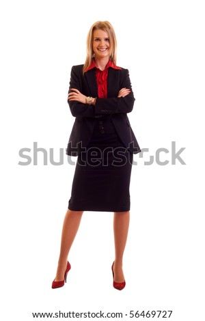 Attractive young blond businesswoman isolated on white background - stock photo