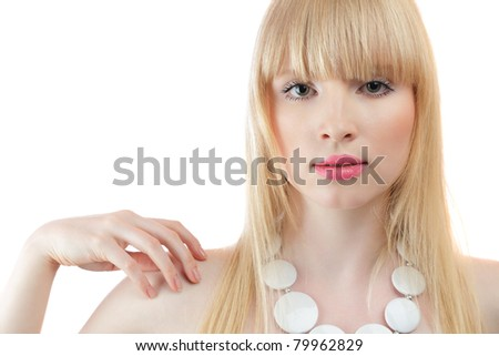 Attractive young blond woman studio portrait isolated over white background - stock photo