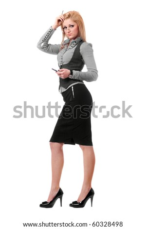 Attractive young blonde with smartphone. Isolated on white - stock photo