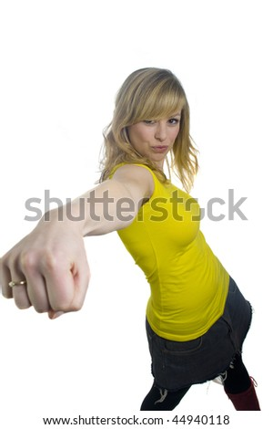 Attractive Young Blonde Woman Punching - stock photo