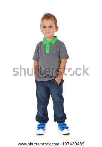 Attractive young boy. All on white background. - stock photo