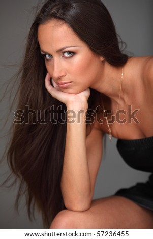 Attractive young brunette - stock photo