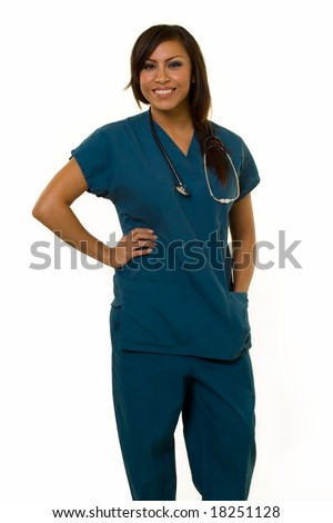 Attractive young brunette Hispanic woman health care worker standing with a smiling friendly expression on white - stock photo