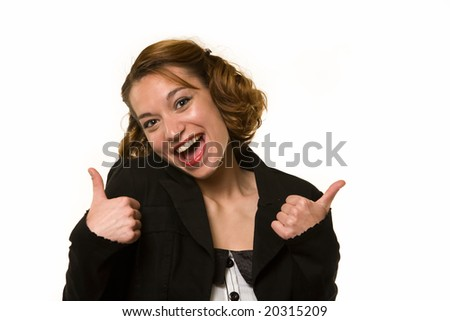 Attractive young brunette woman with two thumbs up with a laughing expression