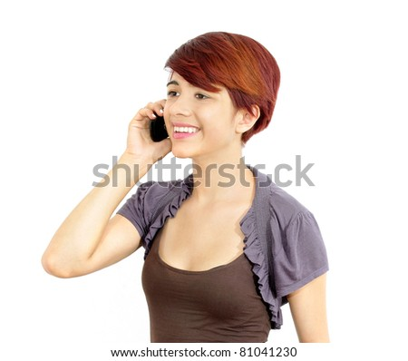 attractive young business female professional making a telephone call interview on her mobile cellphone. white background.