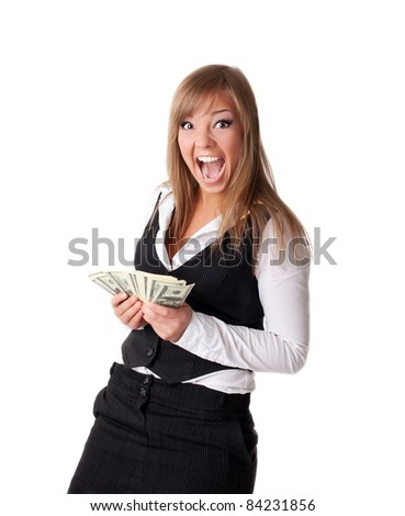 Attractive young business woman happy with money