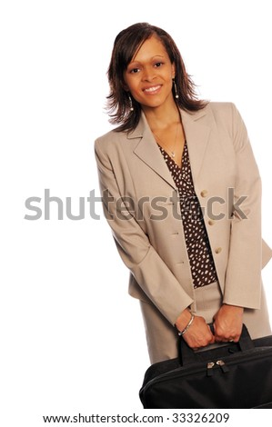 attractive young business woman holding a case or laptop bag