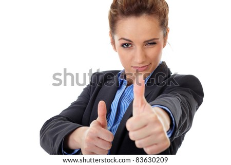 Attractive young business woman shows both thumbs up, isolated on white - stock photo
