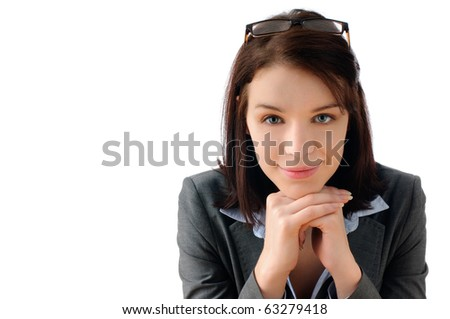 Attractive young business woman strategizing - stock photo