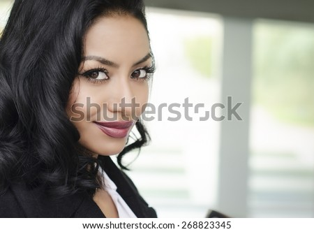 Attractive young business woman student - stock photo