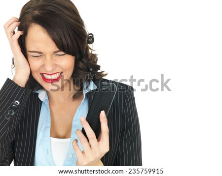 Attractive young Business Woman Using a Telephone - stock photo