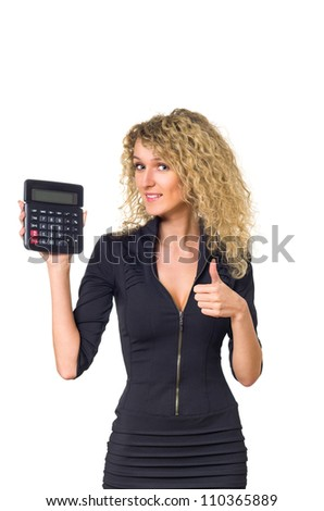 Attractive young business woman with curly hair shows calculator and sign good. Isolated against white background. - stock photo