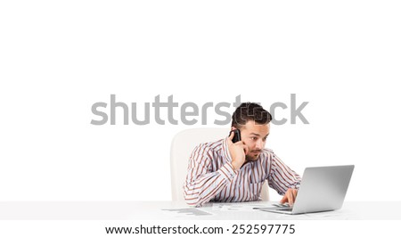 Attractive young businessman with plain white copy space - stock photo