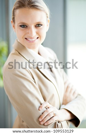 attractive young businesswoman closeup portrait - stock photo
