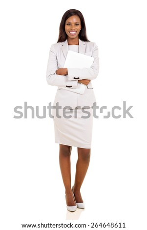 attractive young businesswoman holding laptop on white background - stock photo