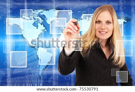 Attractive young businesswoman pointing with pencil.Focused on pencil - stock photo
