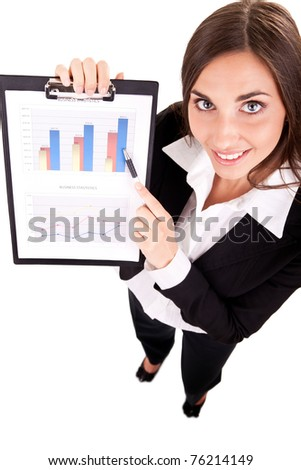 attractive young businesswoman show charts, isolated on white - stock photo