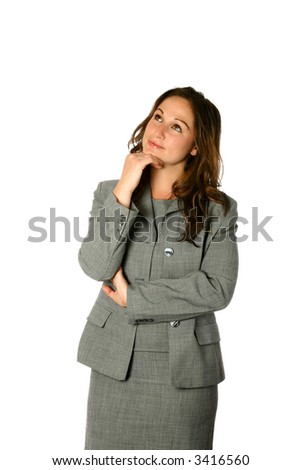 Attractive young businesswoman smartly attired, looking up thoughtfully, isolated on white. - stock photo