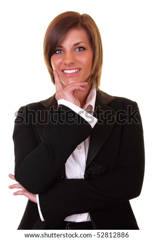attractive young businesswoman thinking concentrating