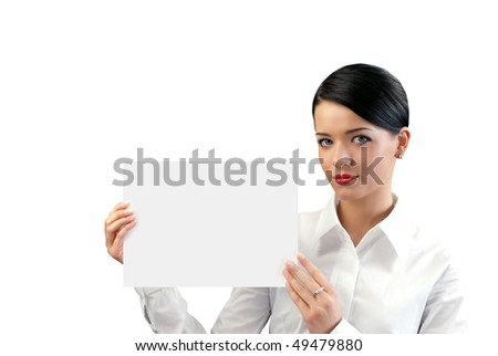 Attractive young businesswoman with copy space sheet (business photo series isolated people with copy spaces) - stock photo