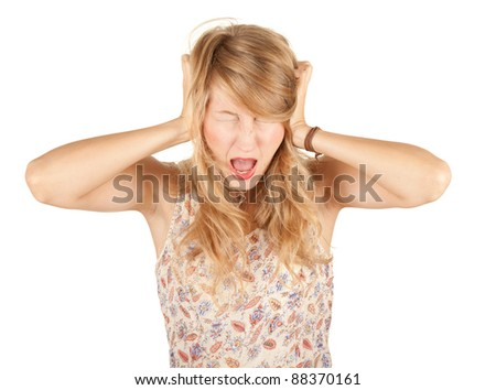 attractive young bwoman with pain, headache, hands on ears