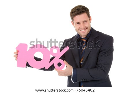 Attractive young caucasian businessman showing ten percent discount sign. Studio shot. White background. - stock photo