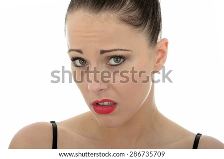 Attractive Young Caucasian Woman In Her Twenties Looking Worried and Concerned About A Situation - stock photo