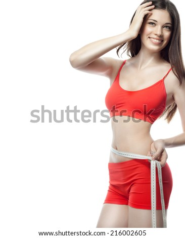 attractive young caucasian woman isolated  on white background studio shot figure body brunette red measuring