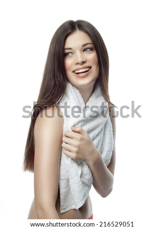 attractive young caucasian woman isolated  on white background studio shot figure body towel