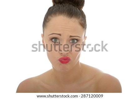 Attractive Young Caucasian Woman Looking Questioning And Confused or Sarcastic Not Caring Shot Against White With Copy Space - stock photo
