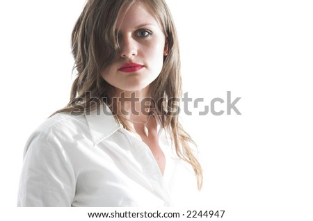 Attractive young caucasian woman with a striking gaze.