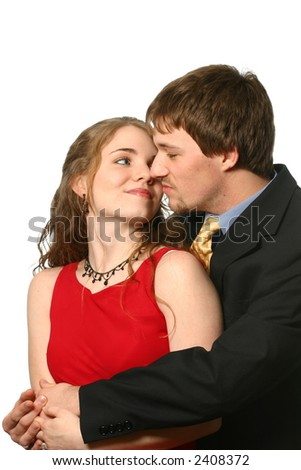 Attractive young couple embracing - stock photo
