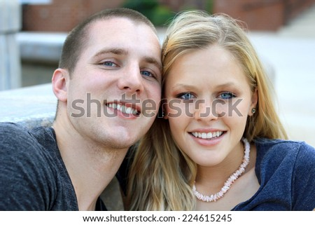Attractive Young Couple In Love and Happy Relationship Boyfriend and Girlfriend Cute  - stock photo