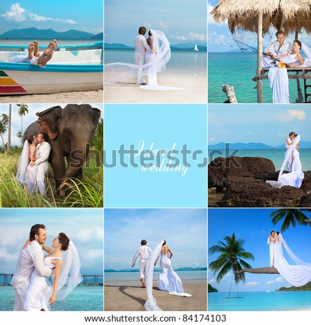attractive young couple in wedding dress on the beach - stock photo