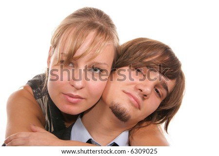 Attractive young couple isolated over white background