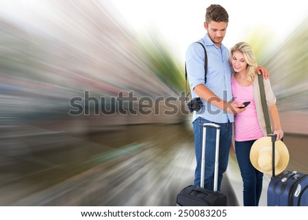 Attractive young couple ready to go on vacation against canal in amsterdam - stock photo