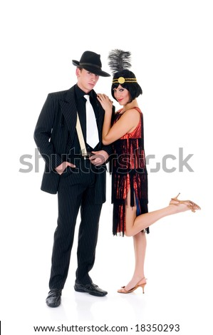Attractive young couple, retro look Lindy Hop era.    Studio shot, white background. - stock photo